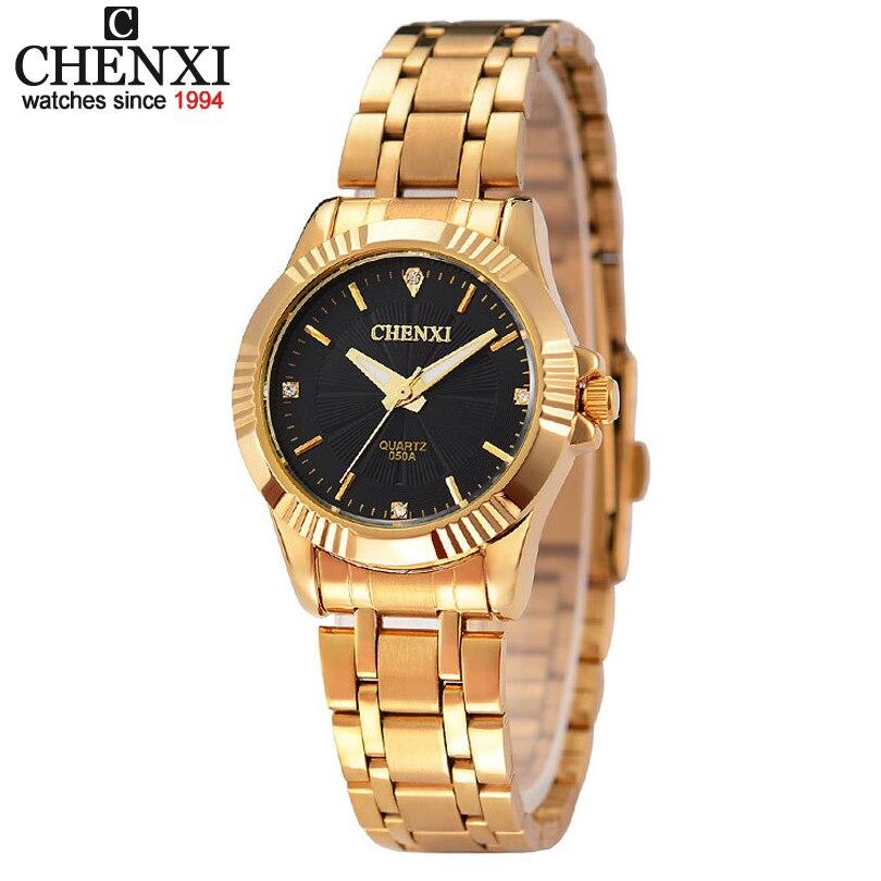 Top font b Fashion b font Brand Luxury CHENXI Watches Women Golden Watch Casual Quartz Wristwatch