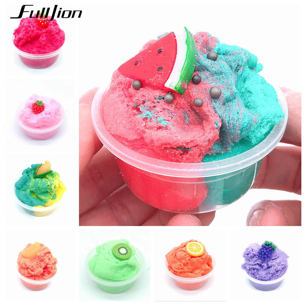 Fulljion Slime Fruit Stretch Polymer Clay Plasticine Tropical Fluffy Cloud Soft Clay Putty Charms Slime Corn Lizun Handgum Fimo