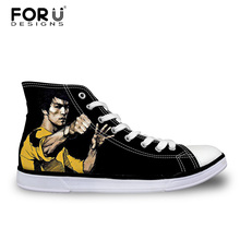 FORUDESIGNS Men's Vulcanize Shoes Bruce Lee Print High Top Canvas Shoes for Teenager Boys Li siu Long Comfortable Lace up Shoes недорого