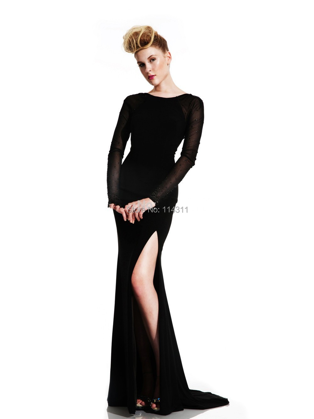 b58d82fd784 Black Sheer Long Sleeves Evening Dresses 2016 Sexy High Slit Jersey Tulle  Sweep Train Women Formal Prom Backless Gowns Vestidos-in Evening Dresses  from ...