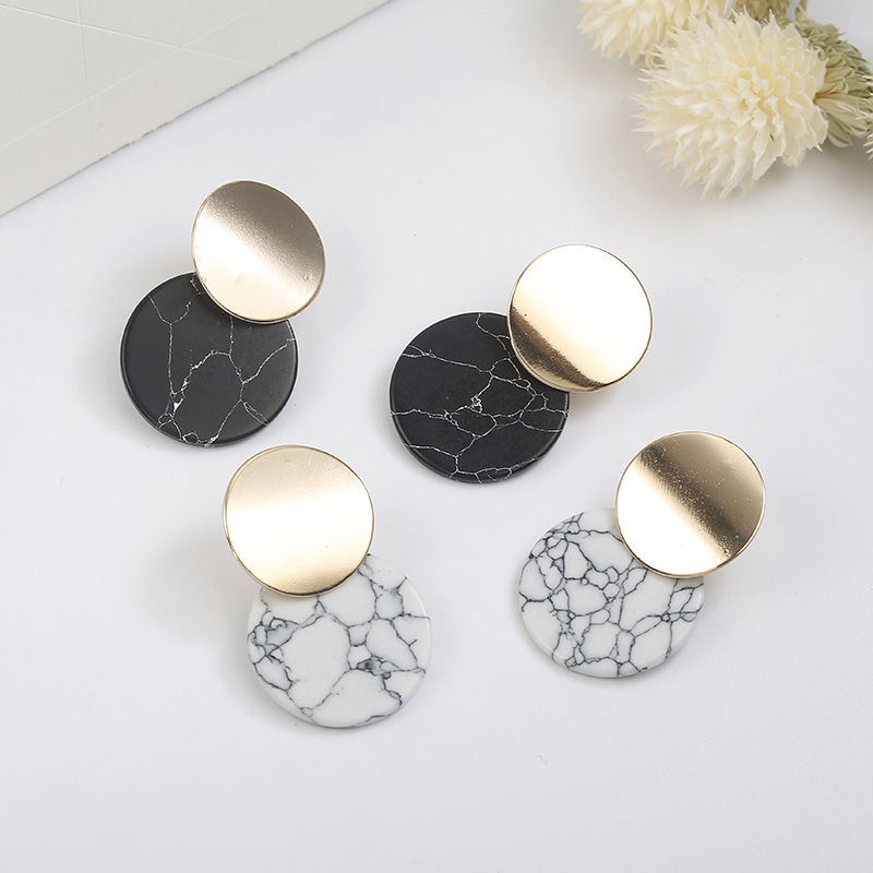 New Arrival Unique Black Trendy Double Round Drop Earrings With Natual Stones Metal Statement Earrings for Women Fashion Jewelry 5