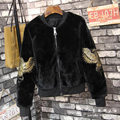 Fashion Women Embroidered eagle Bomber Jacket long sleeve beading basic coatsjackets winter loose coat jaquetas femininas