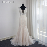 V Neck Mermaid Wedding Dresses Low Back Pearl Beaded Sleeveless Appliqued Beaded Real Photo