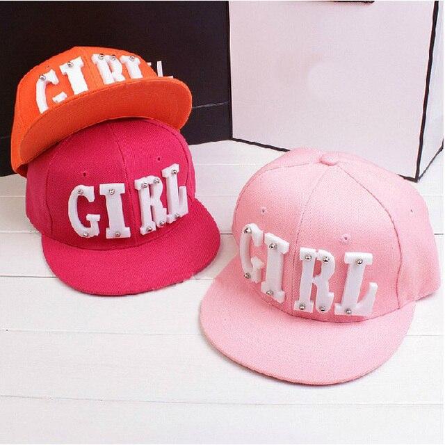 New Fashion Summer Trend Women's Acrylic GIRL Letters Rivet Cap Flat Brim Hat Hip hop Hats Baseball Caps For Men Women Female