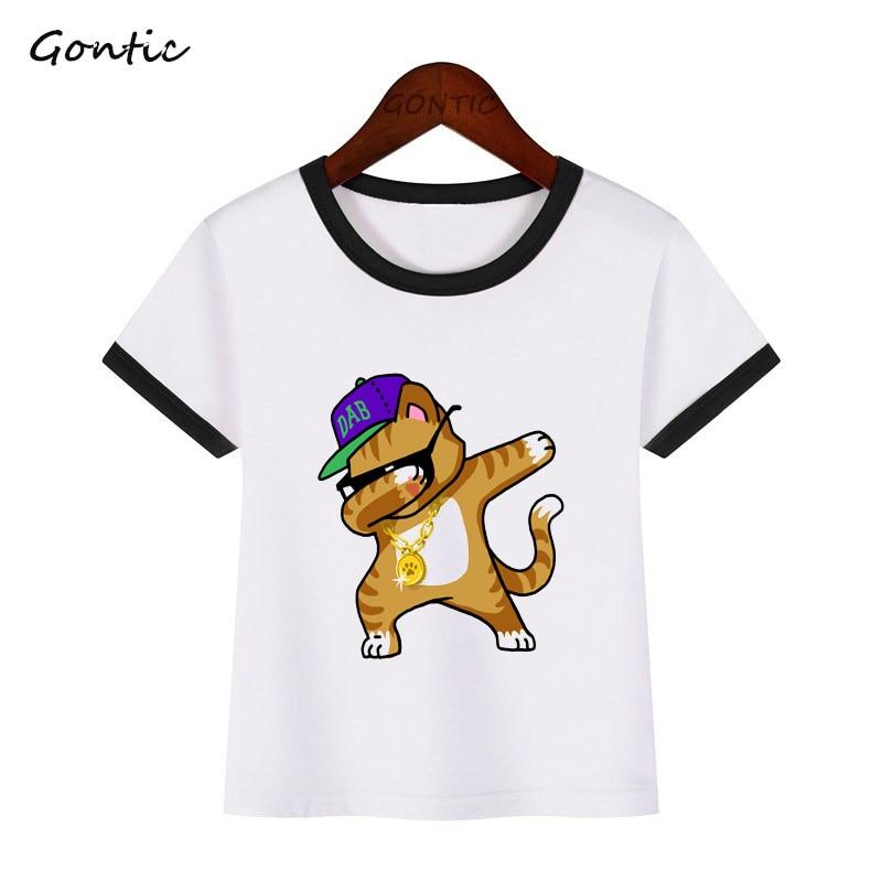 Dabbing Dog Boy T Shirt Kids 2019 New Summer Tops Girl tshirt Children Rabbit Panda Baby T shirt Cute Kawaii Birthday Clothes in T Shirts from Mother Kids