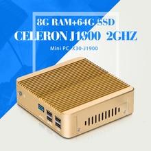 Mini PC Celeron J1900 N2940 N2930 Computador 8 Г DDR3 ОПЕРАТИВНОЙ ПАМЯТИ 64 Г SSD Wi-Fi настольный компьютер встраиваемый промышленный sd-omega