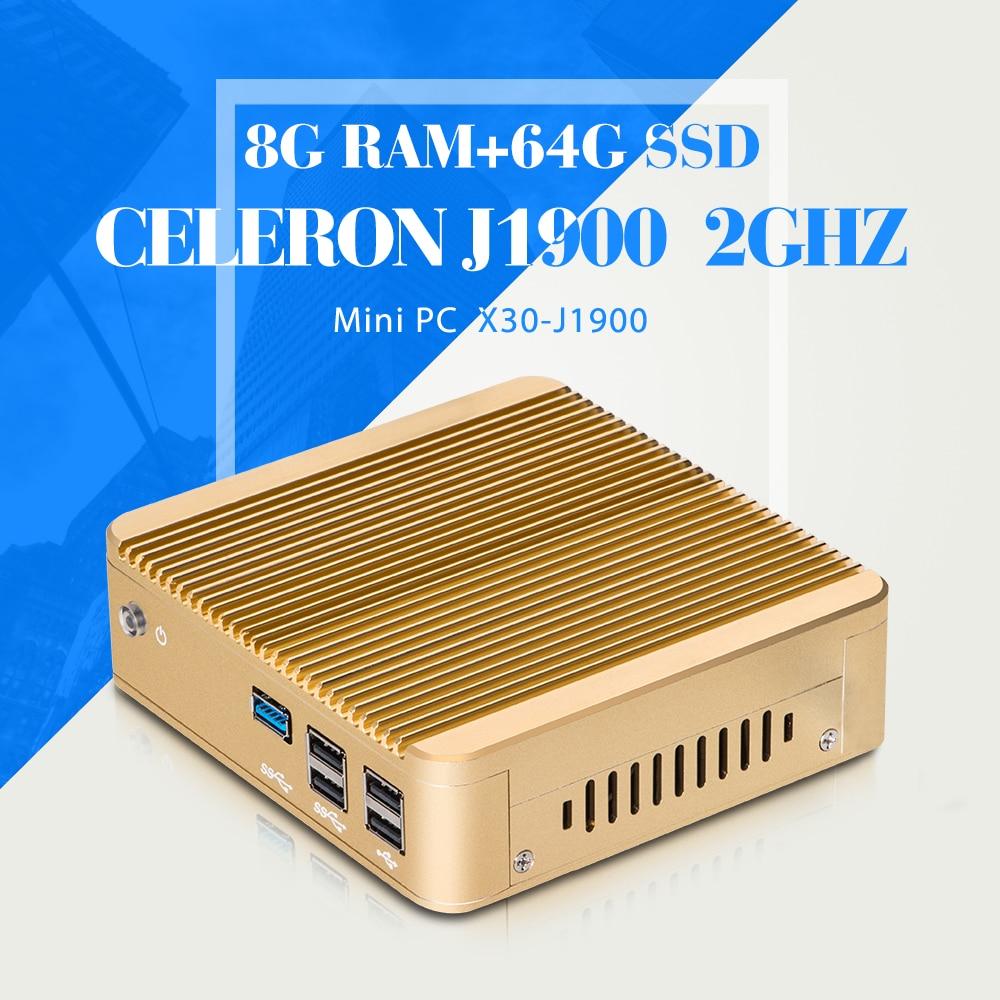 Mini pc celeron j1900 n2940 n2930 computador 8g ddr3 ram 64g ssd wifi industrial