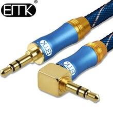 Emk 3.5mm cabo de áudio 90 graus ângulo direito redondo jack 3.5mm aux cabo para iphone carro mp3 4 fone de ouvido bate alto-falante aux cabo 5 m