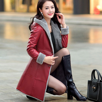 2019 Boutique Thicker Leather Jackets Women Winter Leather Jacket Fur Together Coats Medium Length Hooded Trench Plus Size 6XL
