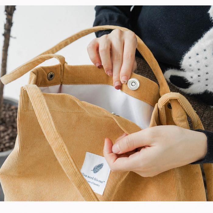 High Capacity Women Corduroy Tote Ladies Casual Shoulder Bag Foldable Reusable Shopping Beach Bag WML99 11