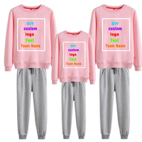 2019 Custom Logo Photo Printed Text Oversized Spring and Autumn Family Pack Full Family Solid Color Sweater Pants Set