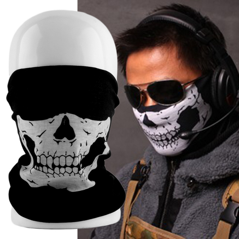 2017 Skull Skeleton Masks Black Motorcycle Multi Function Headwear Hat Neck Scary Face Winter Ski Mask Free Shipping