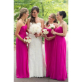 Cheap Chiffon Fuschia Bridesmaids Dresses Long Floor Length Strapless Beach Maid of Honor Dresses Hot Pink Wedding Party Dress