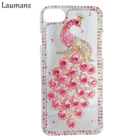 Phone Case For Iphone 7 7plus 6 6s Luxury Bling Rhinestone Crystal Peacock Phone Cover For