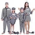 Violencia sangrienta de disfraces de Halloween uniforme de preso de ropa masculina adulta niña uniforme de la prisión de los condenados