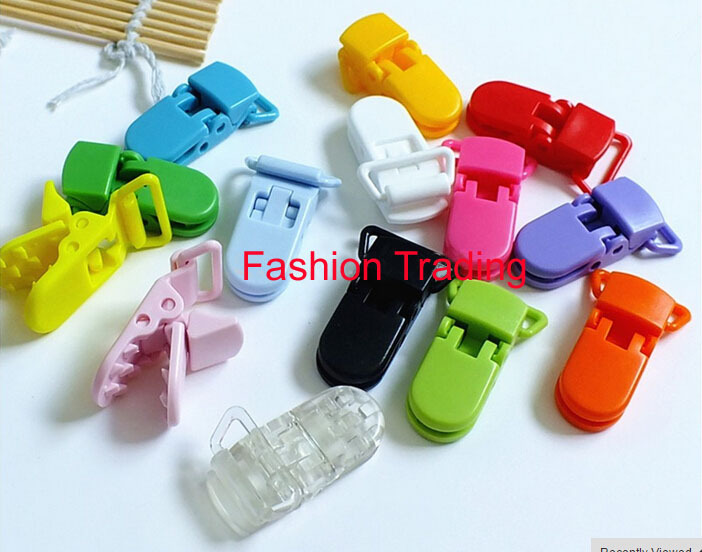 "15 Starter Pack 1/"" KAM Plastic Pacifier Clips Suspender Clips with Gripping"