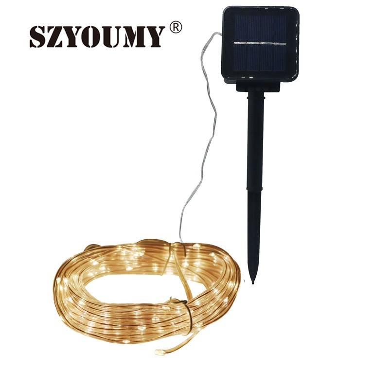 SZYOUMY 7M 50LED 10M 100 LED Soft Tube Copper Wire Solar String Strip Light Waterproof Christmas