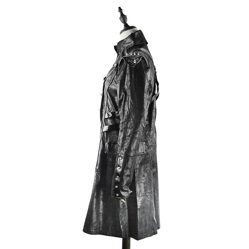 Faux Manteau Retour Femmes Cuir Deux Fermeture Éclair Solide Bouton Vent Vinyle Long Mode Veste Extra Armée En Noir Chaîne wztqzFU1