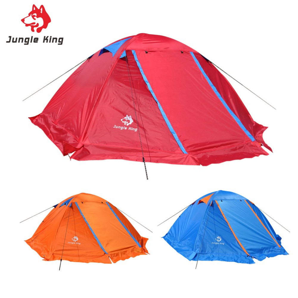 Two Person Double Layers Camping Tent Aluminum Rod Waterproof Four Persons Beach Tent With Carry Bag For Outdoor Travel Hiking blue 2 person oxford camping tent outdoor double layers gazebo tourist tent folding beach tent for camping hiking fishing party