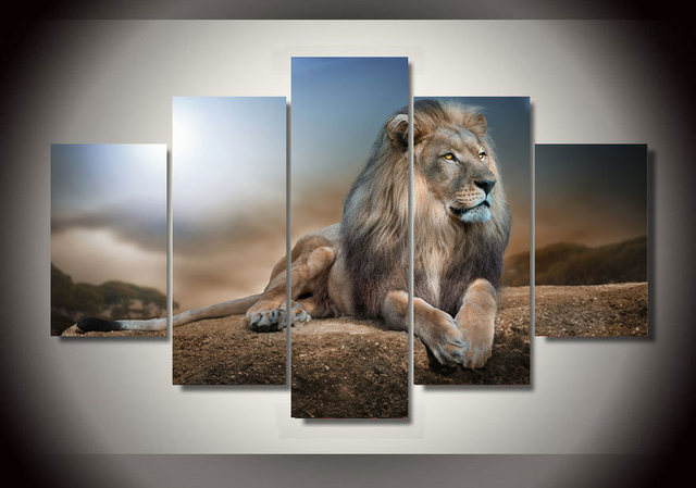 Home Decor Picture Printed Animals Lion Group Painting Children S