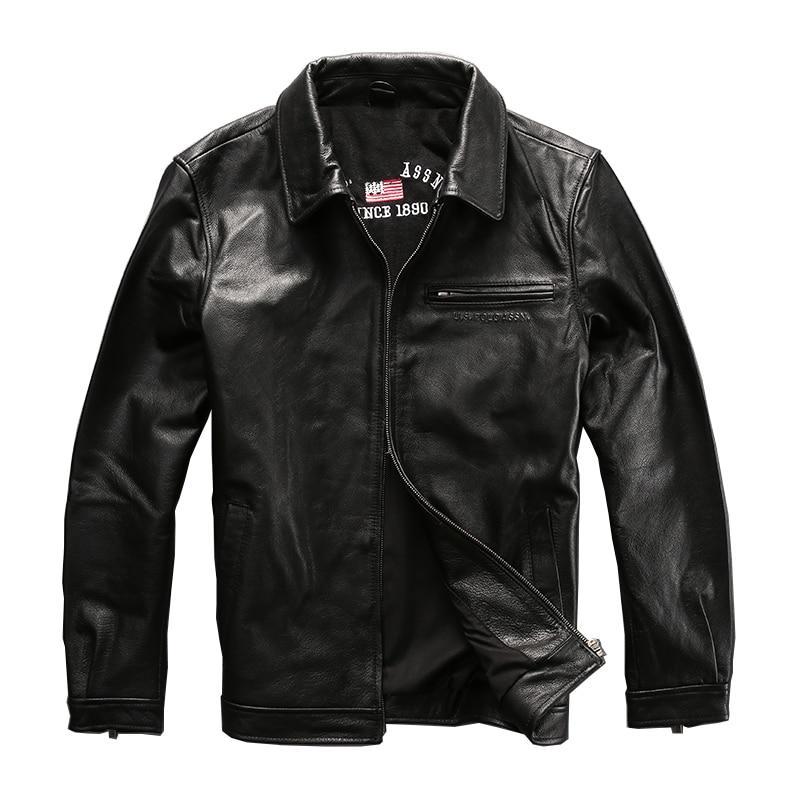 Conception simple bonne qualité manteau hommes veste en cuir de vache hommes véritable cuir de vachette vintage cavalier veste