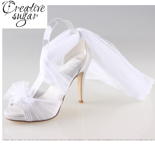 Creativesugar Handmade white fairy tale bridal long tulle soft gauze leg  wrap pumps wedding party homecoming quinceanera shoes af6782c495f1