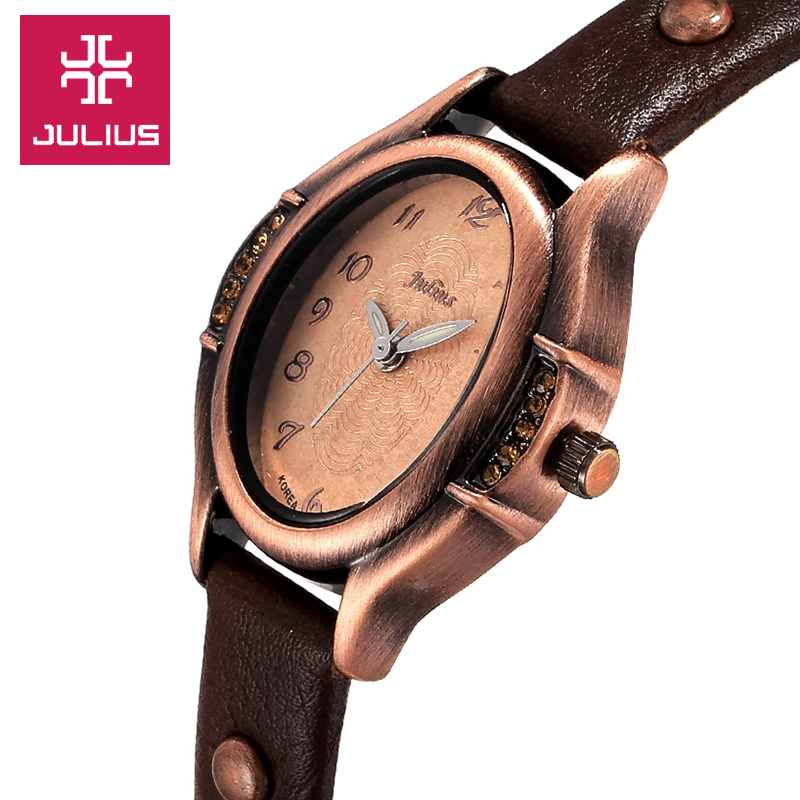Small Lady's Women's Watch Japan Quartz Hours Fine Fashion Bracelet Genuine Leather Retro Clock Girl's Birthday Gift Julius Box