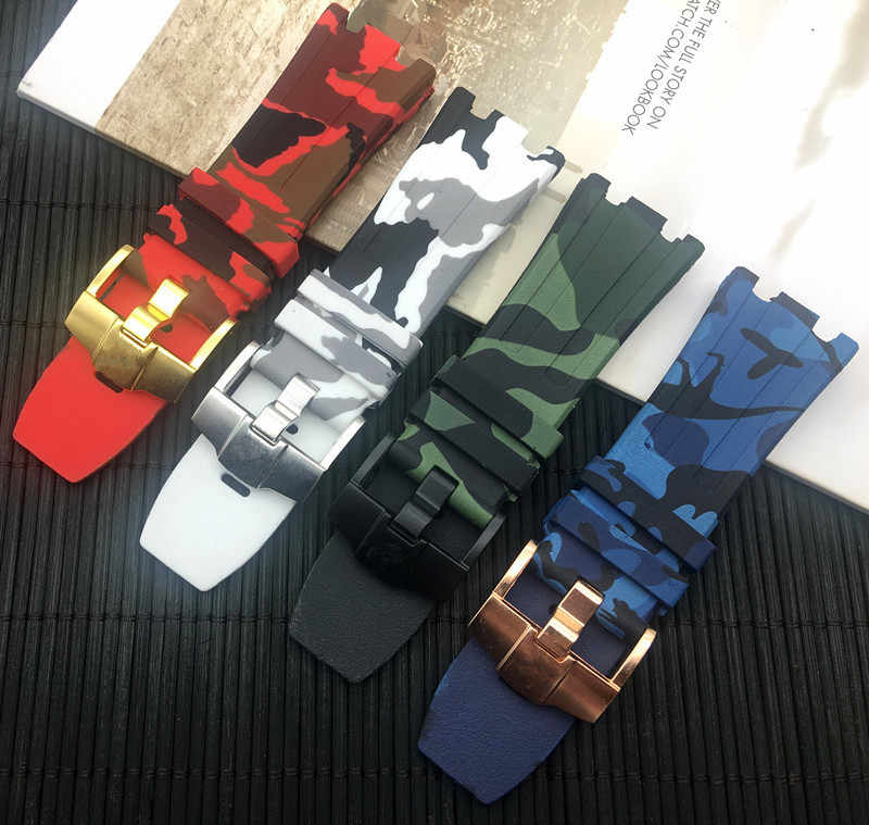 Camo Silicone Rubber bracelet watch band camoflag 28mm watchband for AP strap men Bracelet For Audemars And Piguet logo on