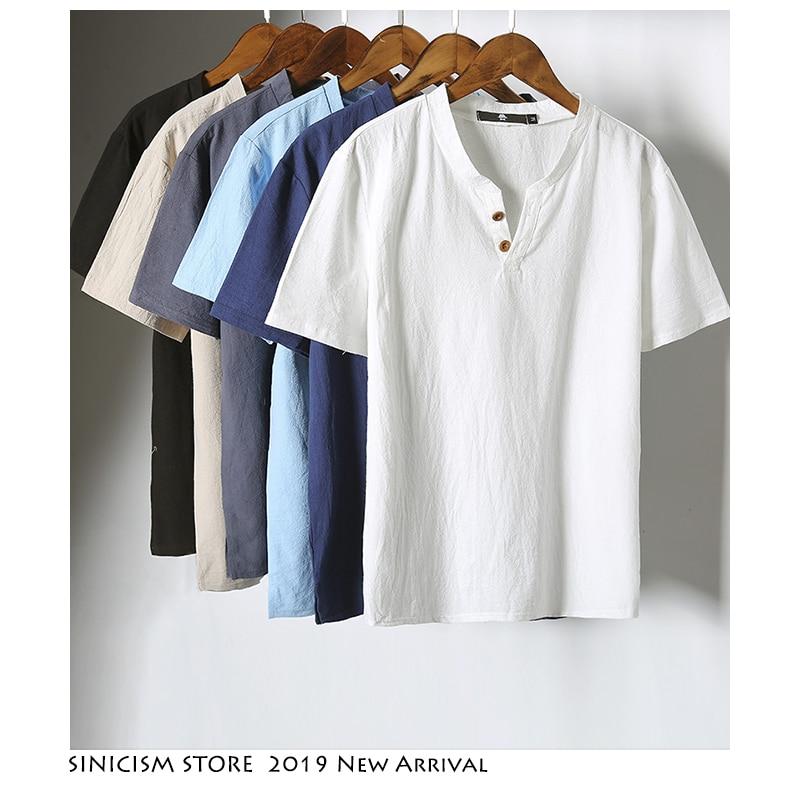 Sinicism Store 5XL Men Cotton Linen T-shirt Man 2019 Summer Casual T-shirts Men T Shirts Male V-Neck Short Sleeve Tees