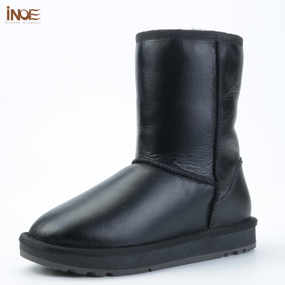 Clássico Couro de Carneiro INOE pele forrada de lã mid-calf mulheres botas de neve de inverno para as mulheres básicas de inverno sapatos à prova d' água preto
