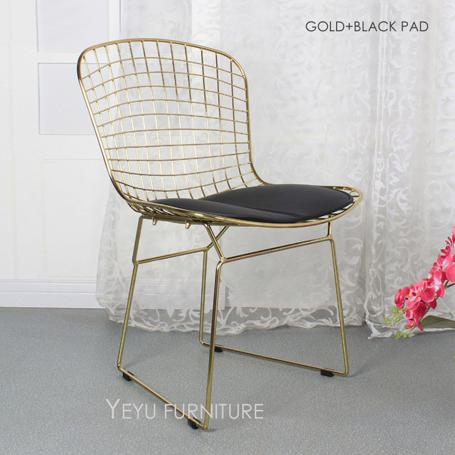 Rose Gold Or Gold Color Bertoia Wire Chair Modern Classic Wire Bertoia Chair  Harry Bertoia Steel Wire Side Chair Loft Cafe Chair