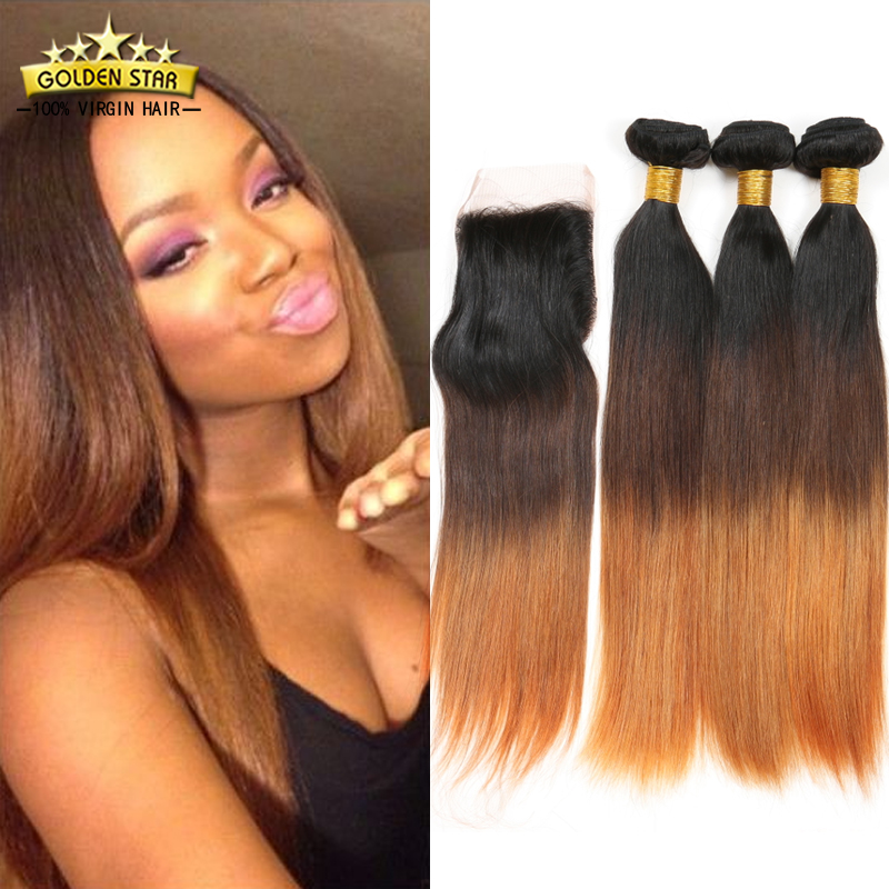 Cheap Ombre Brazilian Human Hair Straight Weave 3 Bundles With