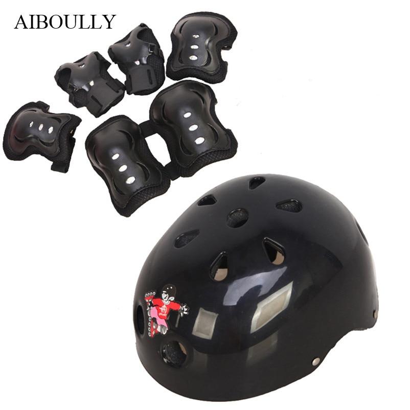 Roller Skates Kids Helmet Skateboard Scooter Knee Support Elbow Pads Glove Skate Boards Accessories 1set