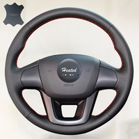 Luxury Hand Sewing Anti Slip Breathable Nappa Leather Stitch On Car Steering Wheel Cover For Kia