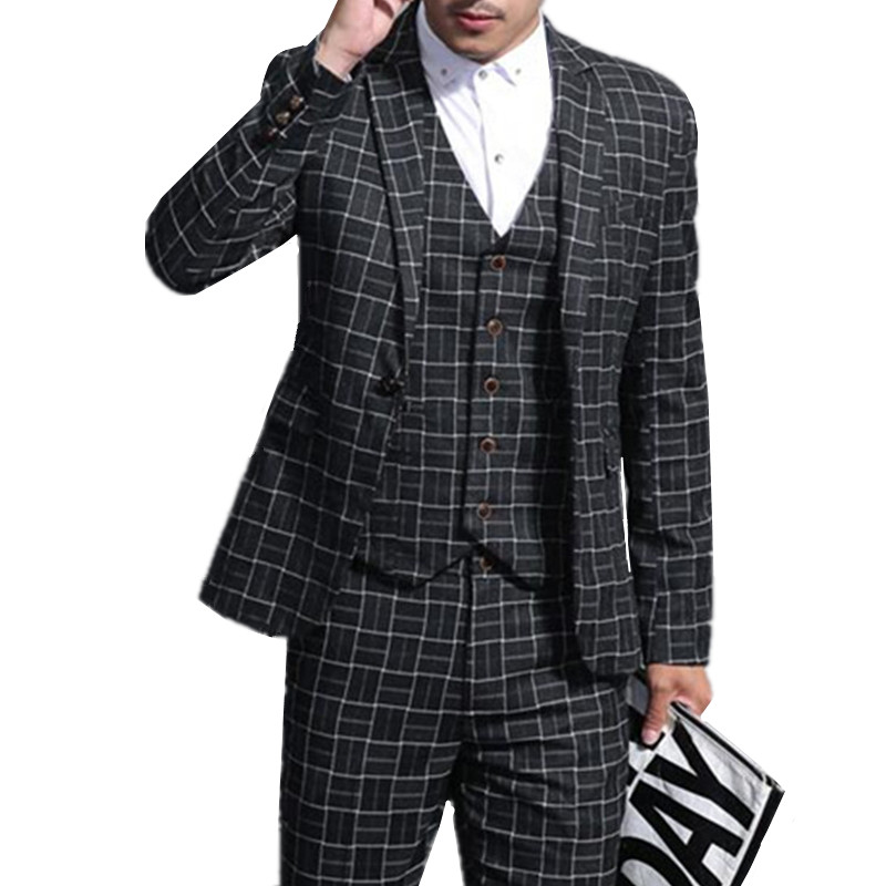 Blazer Hosen Weste 3 stücke Sets/Mode neue männer casual boutique business kleid plaid anzug anzüge hose jacke weste