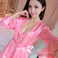 2016 Spring Summer Autumn Women Silk Pajama Sets of Robe & Nightgown Lady Sexy Nightdress Female Home Casual Sleepwear Clothes