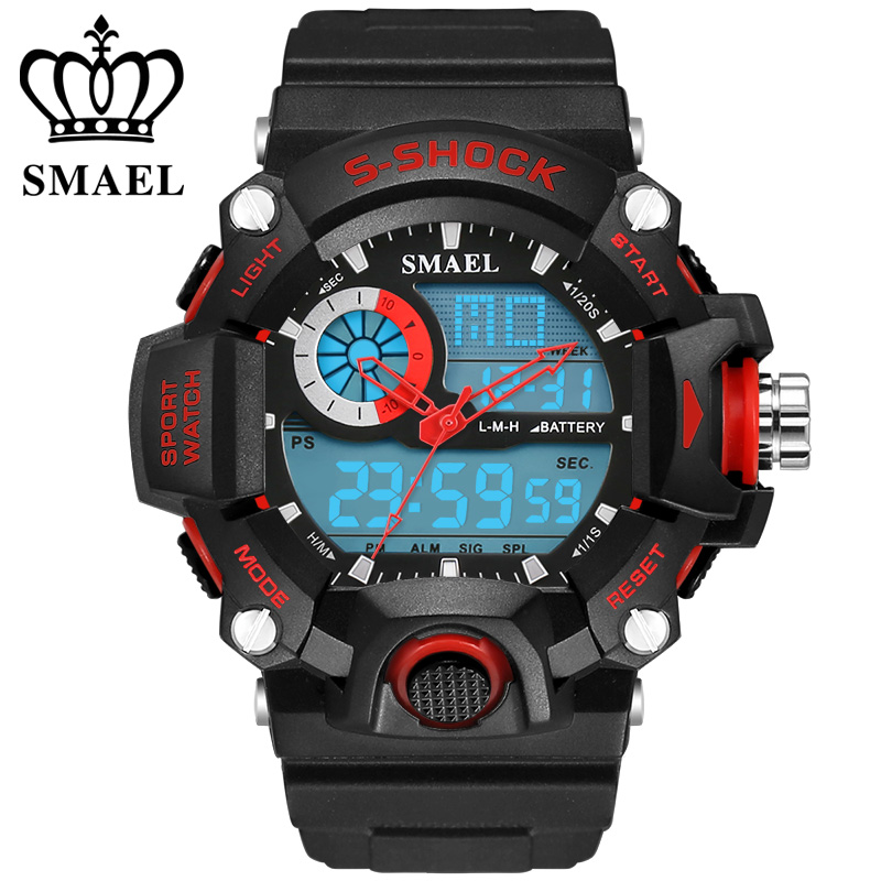SMAEL Analog LED Digit Sport Watches Men Waterproof S Shock Dual Time Casual Watches Military relogio