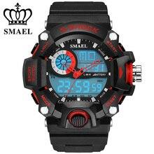 SMAEL Analógica Digit LED Sport Relojes Hombres 50 M Impermeable S Choque Dual Time Relojes de Regalo relogio masculino Militar Ocasional WS1385