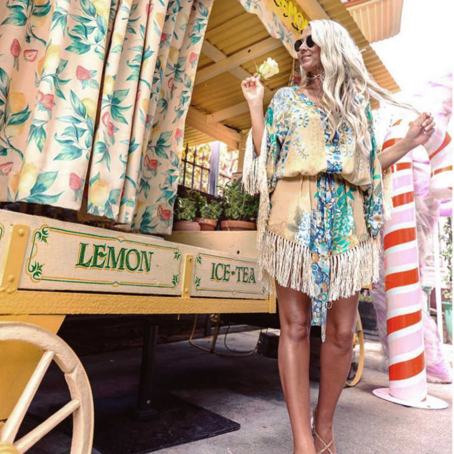 Винтажное кимоно Willow Tassel, сексуальное мини-платье с глубоким v-образным вырезом и поясом, 2019, цветочный принт, летнее платье с рукавом, женские вечерние платья в стиле бохо