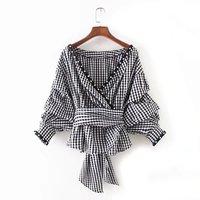 PEONFLY 2017 Autumn Puff Sleeve Plaid Blouses Deep V Neck Sexy Sashes Shirt Long Sleeve Beading