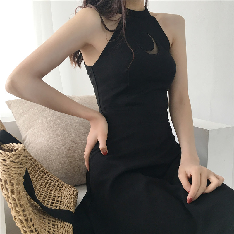 Women Dress Sleeveless Moon Hollow Out Japanese School Dress Cute Harajuku Mori Girl School Clothes Vestidos Vestido Lolita