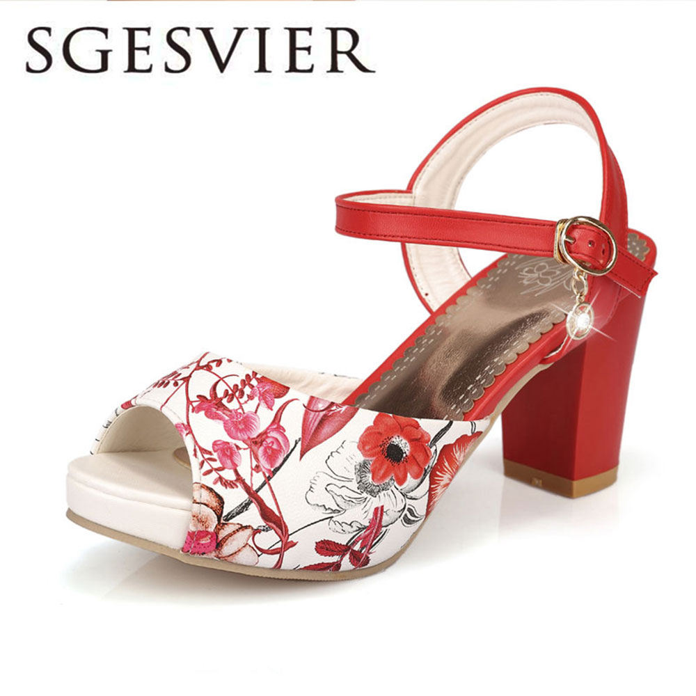 SGESVIER Women Sandals 2017 Summer New Sweet  Party Elegant Peep Toe Buckle Platform Square Heel  Lady Shoes OX088 xiaying smile summer new woman sandals platform women pumps buckle strap high square heel fashion casual flock lady women shoes
