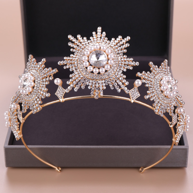 New Baroque Princess Wedding Crowns And Tiaras Crystal Pearls Bridal Hairband Hair Accessories Fashion Women Crown Headpieces