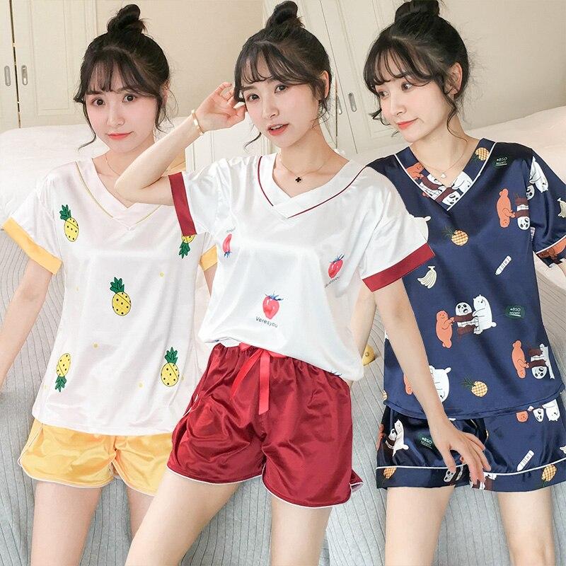 2019 Summer Silk Satin V-neck Shorts   Pajama     Set   for Women Short Sleeve Cute Print Sleepwear Pyjama Homewear Pijama Mujer Clothes