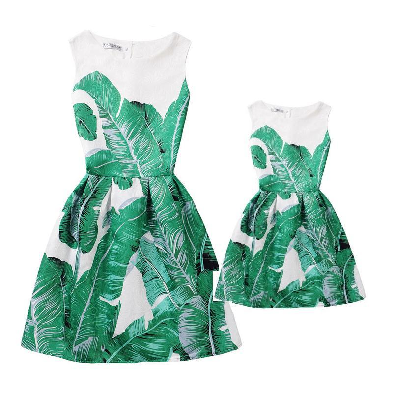 Summer Mother Daughter Dresses Clothes Mom and Daughter Dress Family Matching Outfits Look Clothing Print Mae e Filha Vestido vintage emerald green backless flower girl dress with golden sequins knee length short baby 1 year birthday gowns with big bow