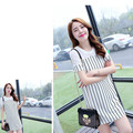 Factory wholesale 2015 summer women's new Korean striped slim in the long sleeved chiffon shirt woman