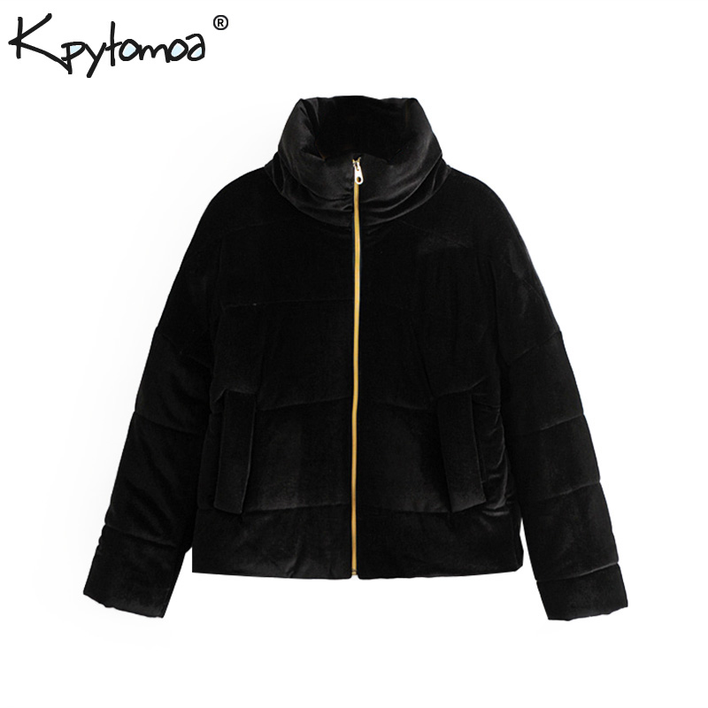 Vintage Thick Warm Winter Velvet   Parkas   Jacket Women Padded Coat 2018 Fashion Long Sleeve Outerwear Casual Casaco Femme Chic Top