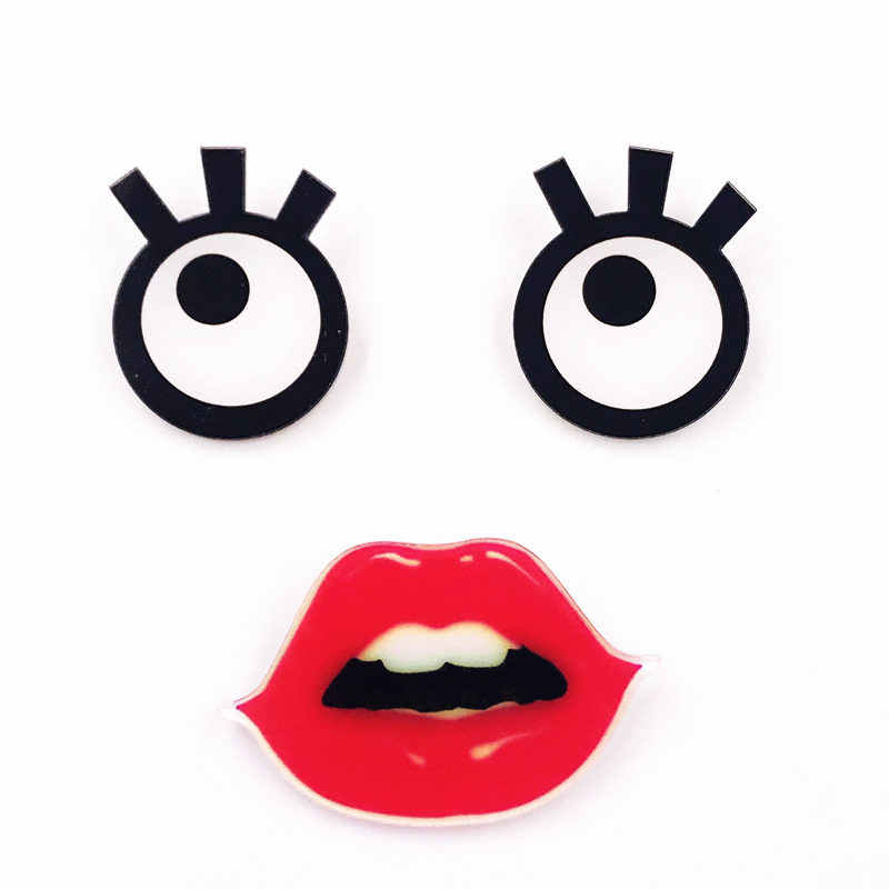 1pcs Cartoon Cute Eyes Red Lips Acrylic Brooch Clothes Badge