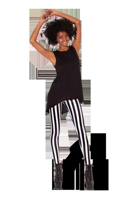 ad11640ce0401 fashion Beetlejuice Leggings for women Black white vertical stripe print  pants woman legging sport fitness