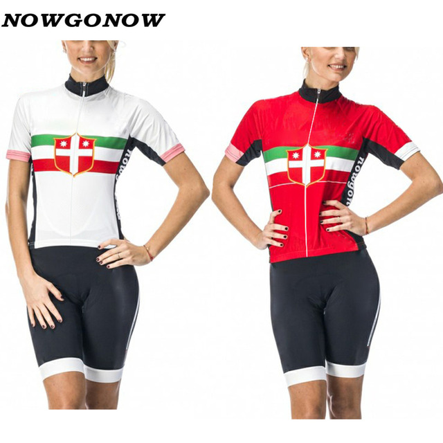 NOWGONOW 2017 Cycling Jersey women italy white red Clothing Bike Wear pro  team MTB road gel pad Maillot Ropa Ciclismo summer a9122644d
